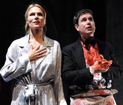Pamela J. Gray as Gertrude and David Barlow as Hamlet in a scene from Gertrude: The Cry (Photo credit: Stan Barouh)