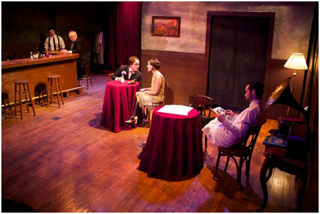 Nick Ritacco, John Robert Tillotson, Thomas Christopher Matthews, Keilly McQuail and Ryan Trout in a scene from Strictly Dishonorable (Photo credit: Leah Caddigan)