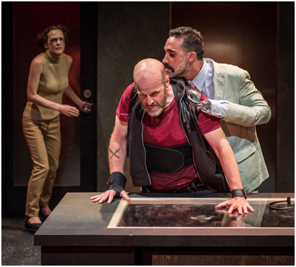 Sarah Lemp, Mark Roberts and Matthew Pilieci in a scene from Enter at Forest Lawn (Photo credit: Russ Rowland)