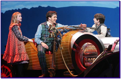 Ellen Marlowe, Raul Esparza, Henry Hodges and Chitty the Car