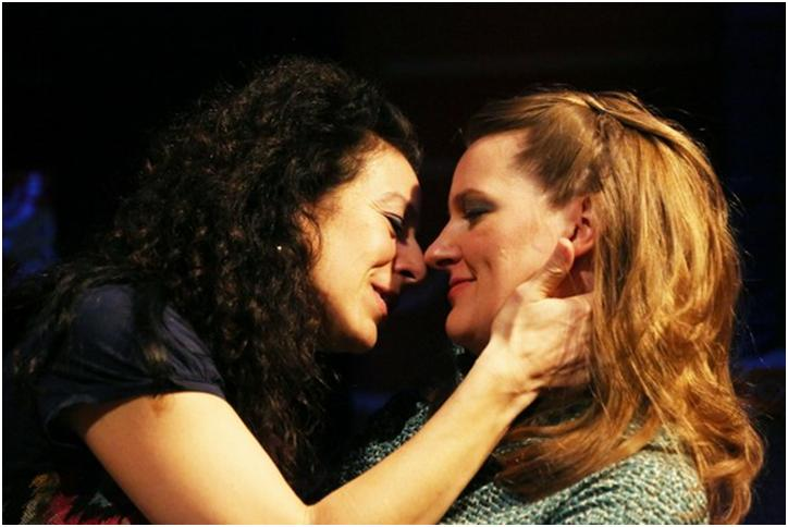Christine Verleny and Laurie Schroeder in a scene from Dana Leslie Goldstein's Daughters ofthe Sexual Revolution(Photo credit: Gerry Goodstein)