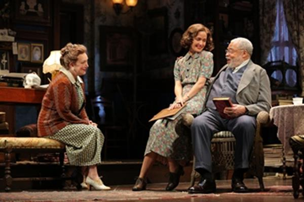 """Kristine Nielsen, Rose Byrne and James Earl Jones in a scene from """"You Can't Take It with You"""" (Photo credit: Joan Marcus)"""