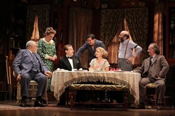 """James Earl Jones, Kristine Nielsen, Fran Kranz, Will Brill, Annaleigh Ashford, Patrick Kerr and Mark Linn-Baker in a scene from """"You Can't Take It with You"""" (Photo credit: Joan Marcus)"""