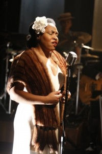 """Charenee Wade as Billie Holiday in a scene from """"Cafe Society Swing"""" (Photo credit: Carol Rosegg)"""
