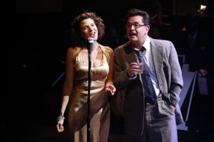 """Cyrille Aimée and Evan Pappas in a scene from """"Cafe Society Swing"""" (Photo credit: Carol Rosegg)"""