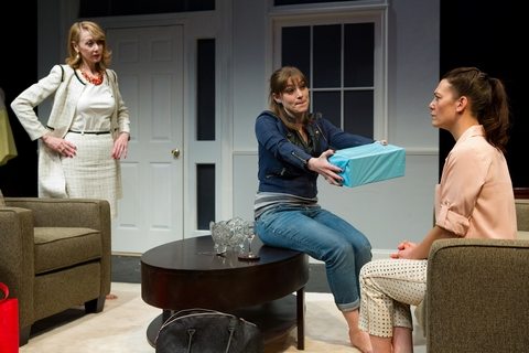 "Julia Campanelli, Alice Bahlke and Corey Tazmania in a scene from ""Villainous Company"" (Photo credit: Hunter Canning)"