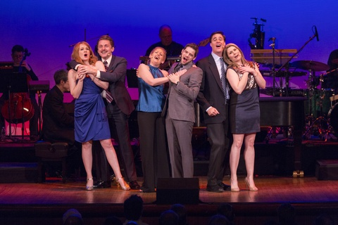 "Kate Baldwin, Jason Danieley, Liz Callaway, Jeremy Jordan, James Clow and Heidi Blickenstaff in a scene from ""A Good Thing Going: The Stephen Sondheim and Harold Prince Collaboration"" (Photo credit: Courtesy 92Y)"