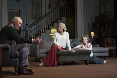 "John Lithgow, Glenn Close and Lindsay Duncan in a scene from Act I of ""A Delicate Balance"" (Photo credit: Brigitte Lacombe)"