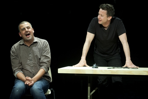 "Marcus Youssef and James Long in a scene from ""Winners and Losers"" at the Soho Rep. (Photo credit: Pavel Antonov)"