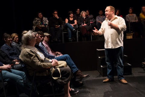 """Jonny Donahoe in a scene from """"Every Brilliant Thing"""" at the Barrow Street Theatre (Photo credit: Matthew Murphy)"""