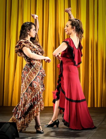"Gizel Jimenez and Heather Velazquez In a scene from ""Rosario and the Gypsies"" (Photo credit: Jonathan Slaff)"