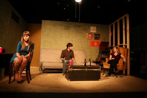 "Leah Brewer, Matthew Socci and Zoë Pike in a scene from ""Sun and Room"" (Photo credit: Danielle Faitelson)"