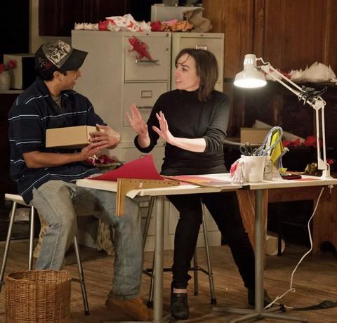 "Maneesh Sasikumar and Nairoby Otero in a scene from Rajiv Joseph's ""Animals Out of Paper"" (Photo credit: Shara Friedman)"