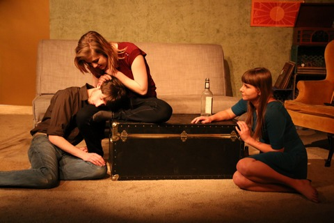 "Matthew Socci, Zoë Pike and Leah Brewer In a scene from ""Sun and Room"" (Photo credit: Danielle Faitelson)"