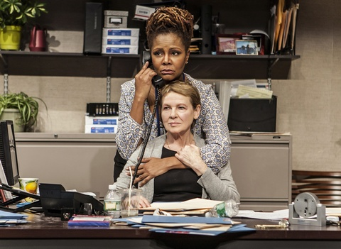 """Tonya Pinkins (above) and Dianne Wiest (below) in a scene from The New Group's production of """"Rasheeda Speaking"""" (Photo credit: Monique Carboni)"""