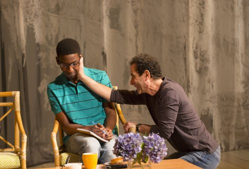 """Mamoudou Athie and Tony Shalhoub in a scene from Bathsheba Doran's """"The Mystery of Love & Sex"""" (Photo credit: T. Charles Erickson)"""