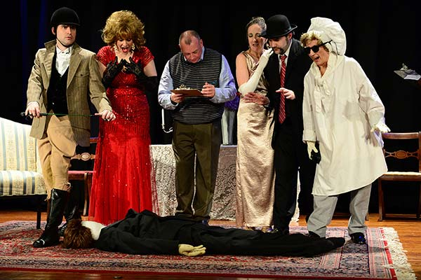 """Kevin Schwab, Joscelyne Wilmouth, Johnny Culver, Josie Lawrence, Jonathan Weirich, andIsabella Knight in a scene from """"Keeping Up Appearances""""(Photo credit: Porter Binks)"""