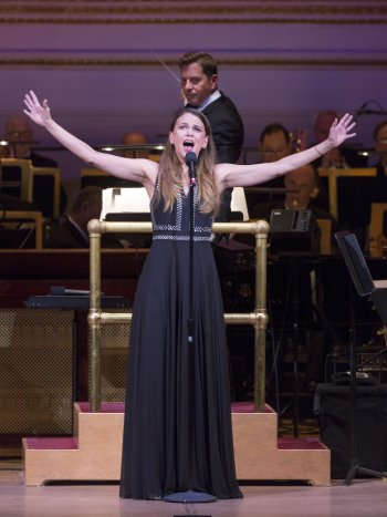 "Sutton Foster as she appeared in ""One Night Only"" with Maestro Steven Reineke and The New York Pops (Photo credit: Richard Termine)"
