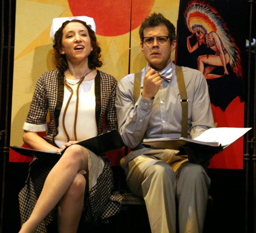 """Armie Bermowitz as Nurse Mary Custer and Blake Joseph as Henry Williamsin a scene from """"Whoopee"""" (Photo credit: Michael Portantiere)"""