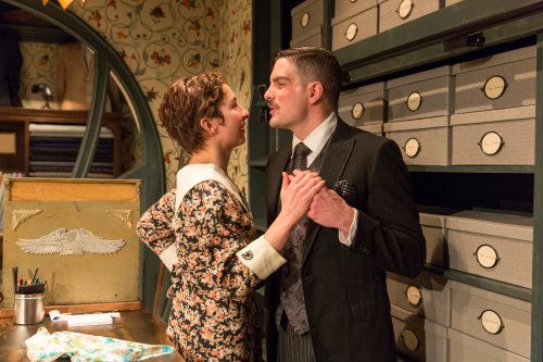 """Annie Purcell and John Tufts in a scene from """"Fashions for Men"""" (Photo credit: Richard Termine)"""