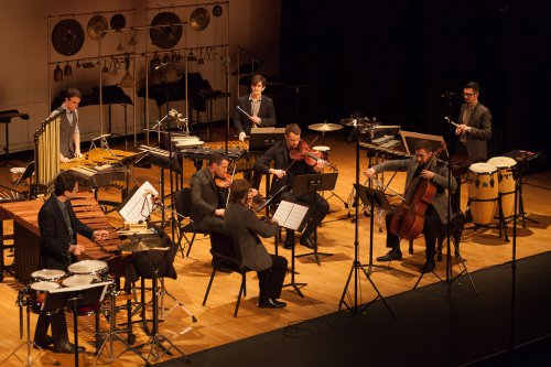 The combined JACK Quartet and Third Coast Percussion as they performed the music of Augusta Read Thomas at Miller Theater on March 5, 2015 (Photo credit: Karli Cadel)