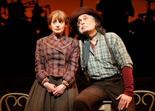"Jenni Barber and Keith Carradine in a scene from New York City Center Encores' revival of Lerner and Loewe's ""Paint Your Wagon"" (Photo credit: Joan Marcus)"