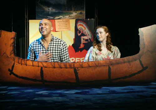 """Lee Hollis Bussie as Wanenis and Katie Emerson as Sally in a scene from """"Whoopee"""" (Photo credit: Michael Portantiere)"""