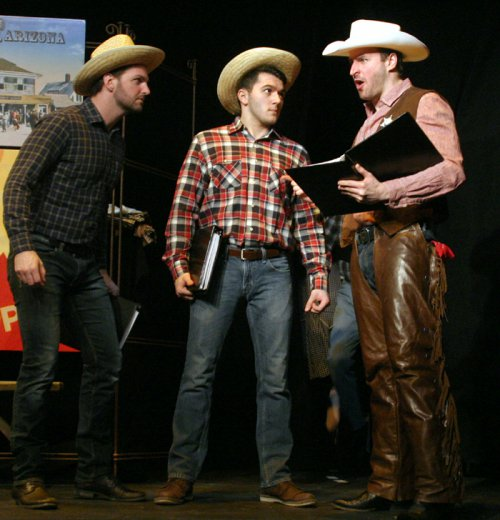 Nate Suggs, Nicholas Kuhn and Morgan McCann as Sheriff Bob in a scene from Whoopee (Photo credit: Michael Portantiere)