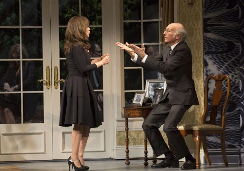 """Rosie Perez and Larry David in a scene from """"Fish in the Dark"""" (Photo credit: Joan Marcus)"""