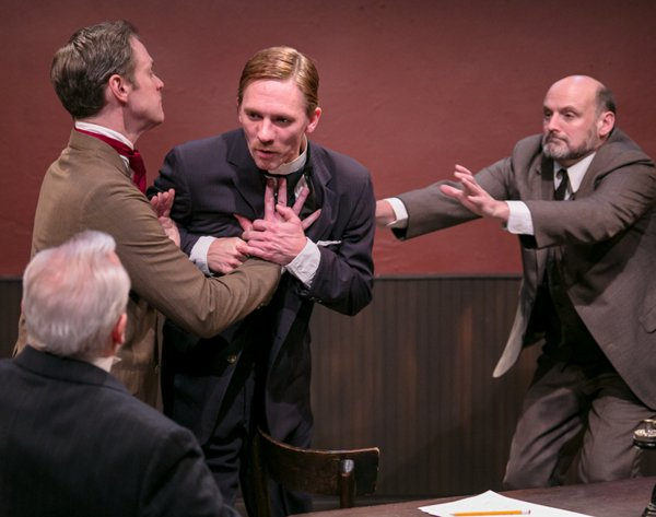 "Bill Tatum, Eric Loscheider, Jed Peterson and Dared Wright in a scene from ""The Man of the Hour"" at Metropolitan Playhouse (Photo credit: Charles Figlow)"