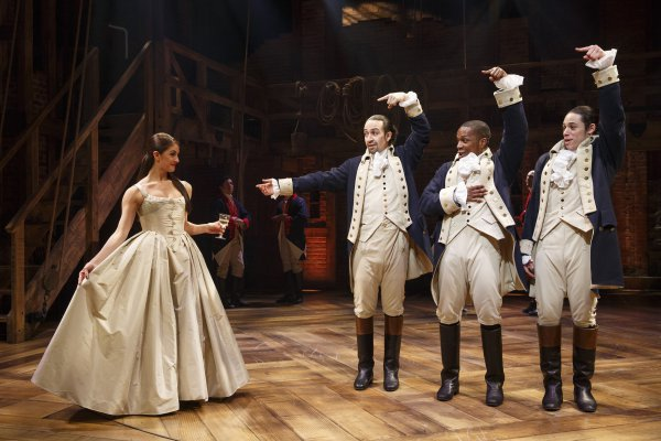 Carleigh Bettiol, Lin-Manuel Miranda, Leslie Odoms, Jr., and Anthony Ramos in a scene from Hamilton (Photo credit: Joan Marcus)