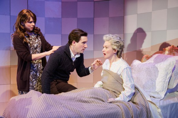 """Liv Rooth, Carson Elrod and Kelly Hutchinson in a scene from David Ives' """"Life Signs"""" (Photo credit: James Leynse)"""