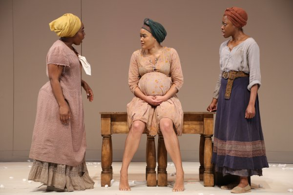 "Maechi Aharanwa, Danielle Davenport and Pascale Armand in a scene from ""An Octoroon"" at Theatre for a New Audience (Photo credit: Gerry Goodstein)"