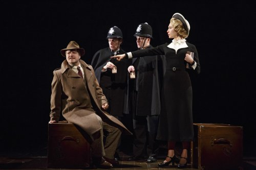 "Robert Petkoff, Arnie Burton, Billy Carter and Britany Vicars in a scene from 30 Steps"" (Photo credit: Joan Marcus)"