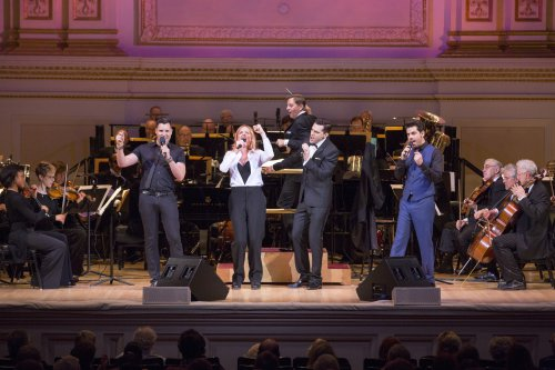 "Frankie Moreno, Storm Large, Ryan Silverman and Tony DeSare as they appeared with music director Steven Reineke and the New York Pops' at the ""Let's Be Frank"" concert (Photo credit: Richard Termine)"