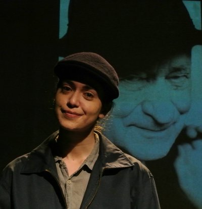 "Lillian Rodriquez as Jonas Mekas in ""That's How Angels Arranged,"" one of the play included in ""The Indelible,"" part of Metropolitan Playhouse's  11th Annual East Side Stories"