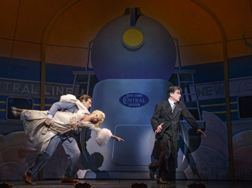 "Andy Karl, Kristin Chenoweth and Peter Gallagher in a scene from ""On the Twentieth Century (Photo credit: Joan Marcus)"