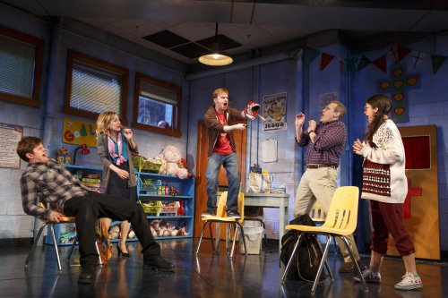 """Michael Oberholtzer, Geneva Carr, Steven Boyer, Marc Kudisch, and Sarah Stiles in a scene from """"Hand to God"""" (Photo credit: Joan Marcus)"""