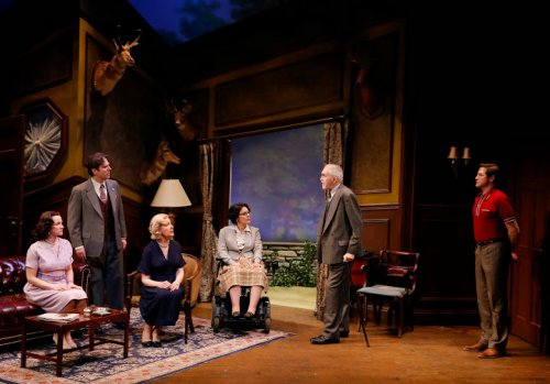 "Pamela Sabaugh, Scott Barton, Melanie Boland, Ann Marie Morelli, Lawrence Merritt and David Rosar Stearns in a scene from Agatha Christie's ""The Unexpected Guest"" (Photo credit: Carol Rosegg)"