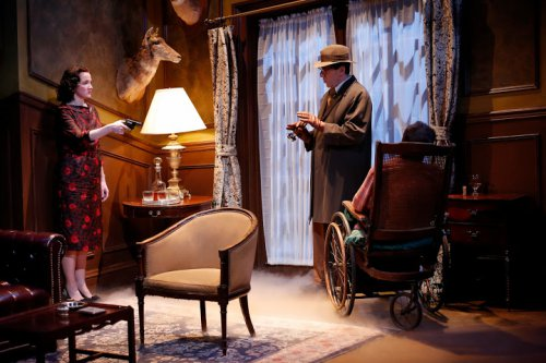 "Pamela Sabaugh and Nicholas Viselli in a scene from Agatha Christie's ""The Unexpected Guest"" (Photo credit: Carol Rosegg)"