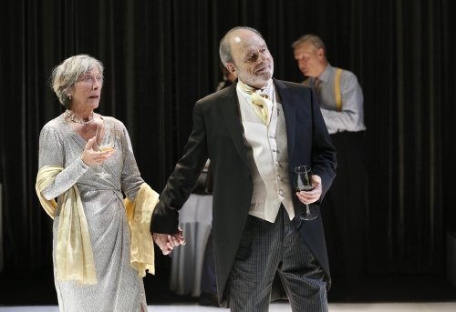 "Penelope Allen, Harris Yulin and Jim Broaddus in a scene from ""Hamlet"" (Photo credit: Carol Rosegg)"