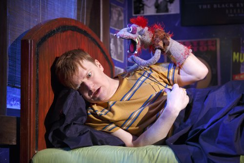 """Steven Boyer in a scene from """"Hand to God"""" (Photo credit: Joan Marcus)"""