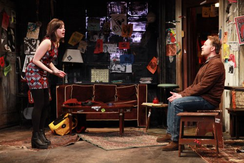 "Margo Seibert and Chris Kipiniak in a scene from Laura Eason's ""The Undeniable Sound of Right Now"" (Photo credit: Sandra Coudert)"