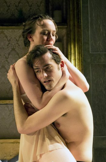 "Amelia Pedlow as Annabella and Matthew Amendt as Giovanni in an intimate scene from the Red Bull Theater revival of ""Tis Pity She's a Whore"" (Photo credit: Richard Termine)"