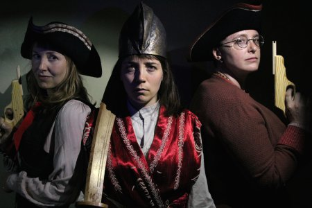 """Meghan Maureen Williams, Emily Hartford and Gretchen Van Lente in a scene from """"Blood Red Roses: The Female Pirate Project"""" (Photo credit: Jonathan Musser)"""