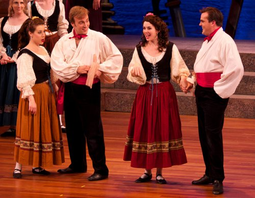 "Amy Maude Helfer, Matthew Wages, Sarah Caldwell Smith and Daniel Greenwood in a scene from NYGASP's ""The Gondoliers"" (Photo credit: William Reynolds)"