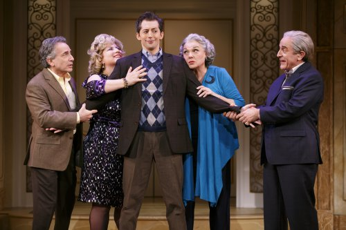 "Chip Zien, Anne L. Nathan, Josh Grisetti, Tyne Daly and Adam Heller in a scene from ""It Shoulda Been You"" (Photo credit: Joan Marcus)"