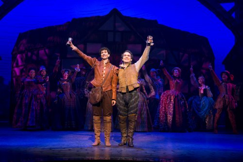 "John Cariani and Brian d'Arcy James a Nick and Nigel Bottom in a scene from ""Something Rotten!"" (Photo credit: Joan Marcus)"