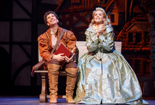 "John Cariani and Kate Reinders in a scene from ""Something Rotten!"" (Photo credit: Joan Marcus)"