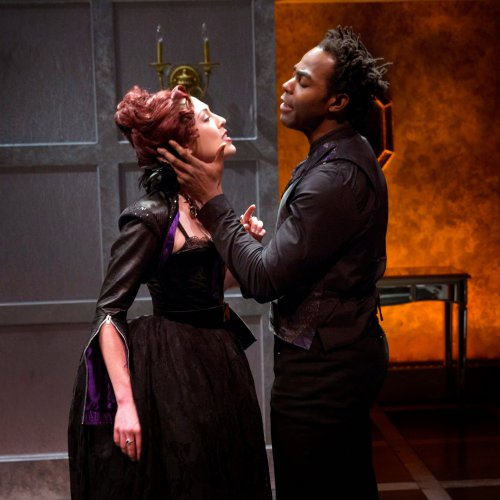 "Kelley Curran as Hippolita and Clifton Duncan as Soranzo in a scene from the Red Bull Theater's revival of ""Tis Pity She's a Whore"" (Photo credit: Richard Termine)"
